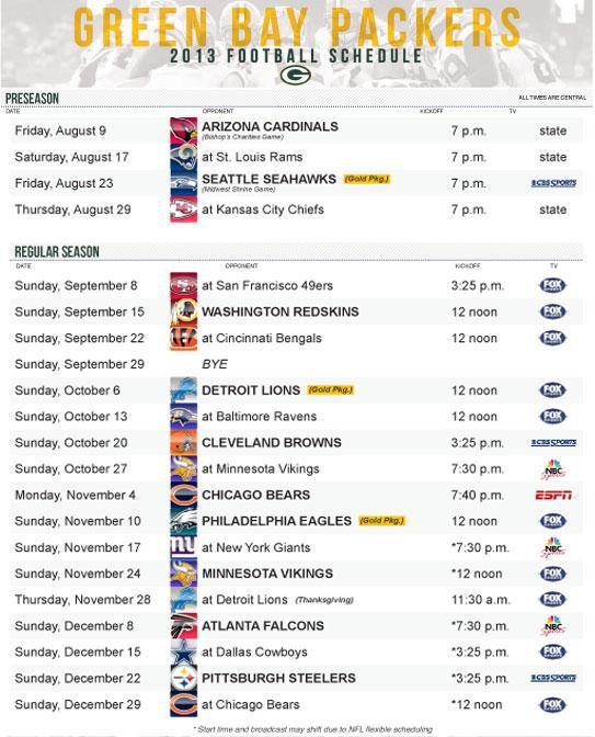 2013 Packer Schedule