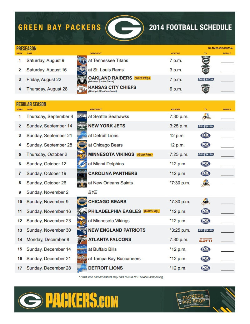 2014 Packers schedule
