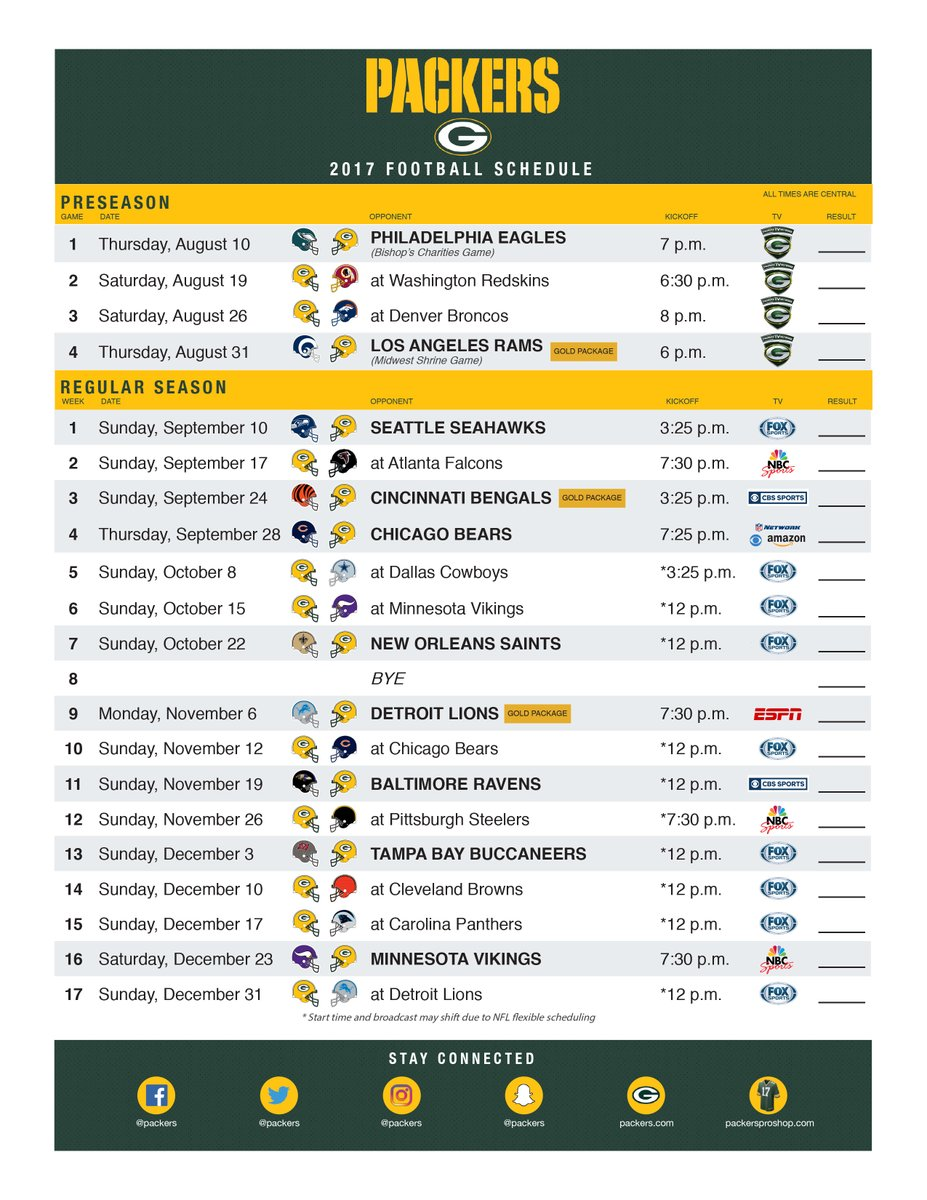 It's just a picture of Nifty Green Bay Packers Schedule 2020 Printable