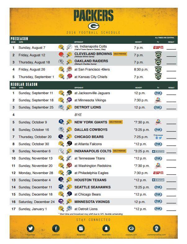 2021 Packer schedule